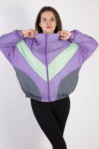 90s Retro Track Top Shell High Neck Lilac XL