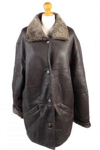 Vintage Leather Coat Sheepskin Fur Lined XL Brown