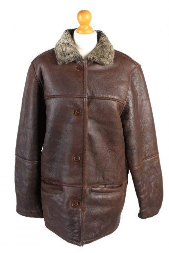 Vintage Leather Coat Sheepskin Fur Lined M Brown