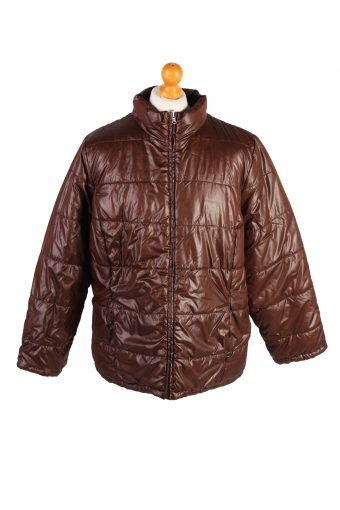 Vintage Reversible Padded Jacket Faded Glary L Brown