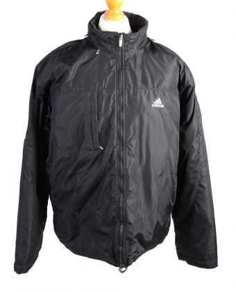 Vintage Adidas Pullover Puffer Coat L Black -C1486-0