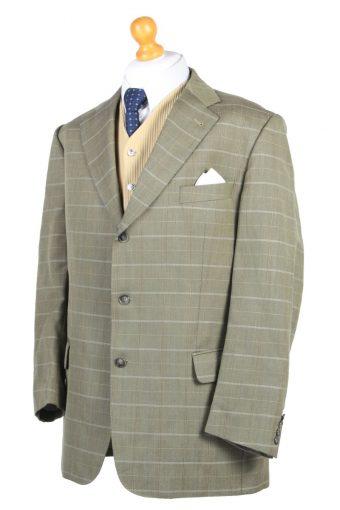 """Vintage Burberry Weingorten Houndstooth Blazer Jacket Chest 50"""" Green HT2627-106631"""