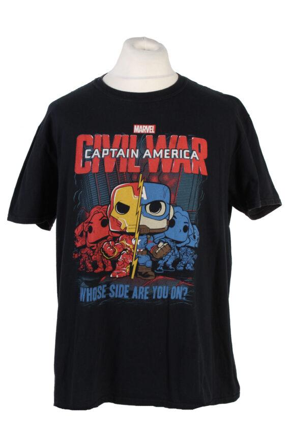 Vintage Marvel Captain America T-Shirt L Black TS360-0