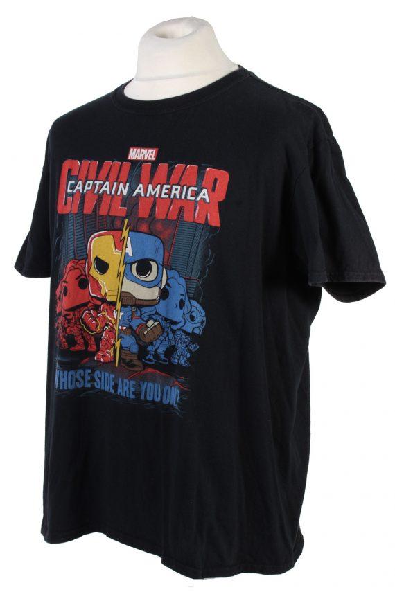 Vintage Marvel Captain America T-Shirt L Black TS360-109583
