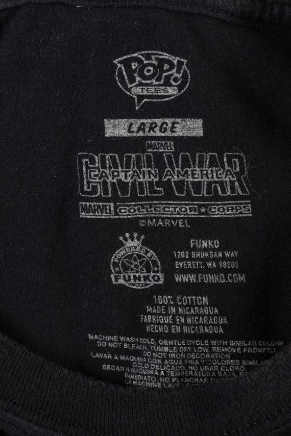 Vintage Marvel Captain America T-Shirt L Black TS360-109585