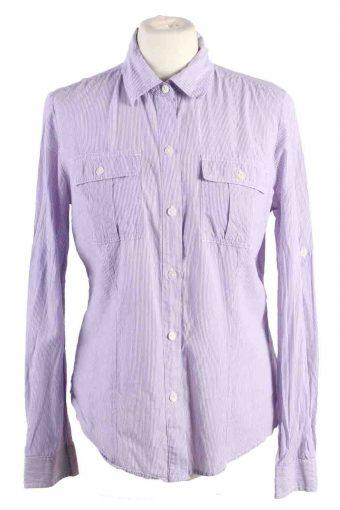 Calvin Klein Women Shirt Stripe Long Sleeve 90s Purple S