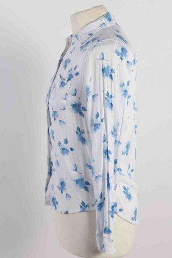 Vintage Abercrombie Kids Flower Printed Long Sleeve Shirts XS White SH3847-114427
