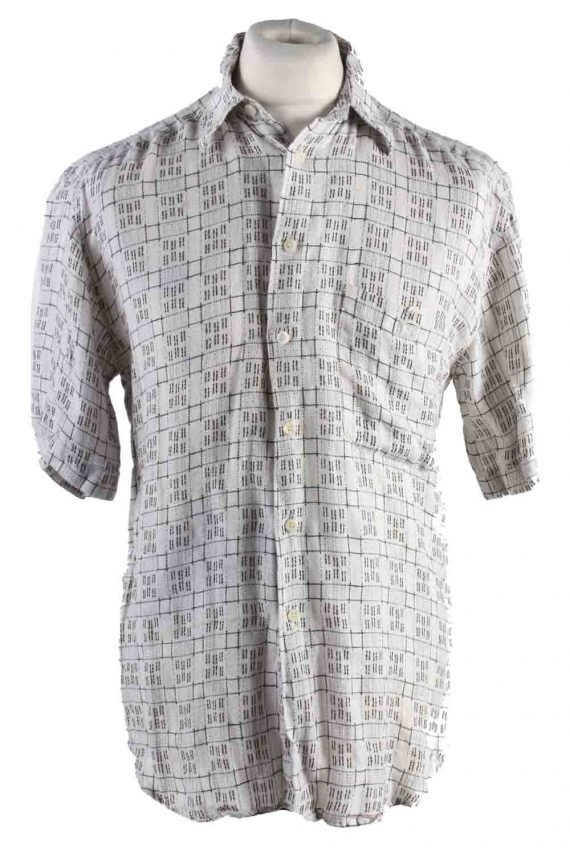Vintage Mens 90`s Crazy Printed Casual Wear Short Sleeve Shirts S Beige SH3901-0