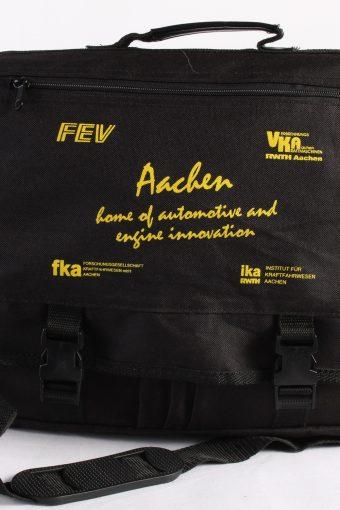 Vintage Briefcase Business Work Unisex Bag Adjustable Strap Black
