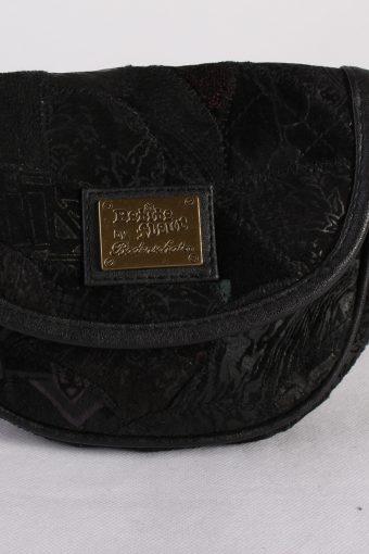 Vintage Womens Patchwork Printed Shoulder Messenger Mini Bag Black