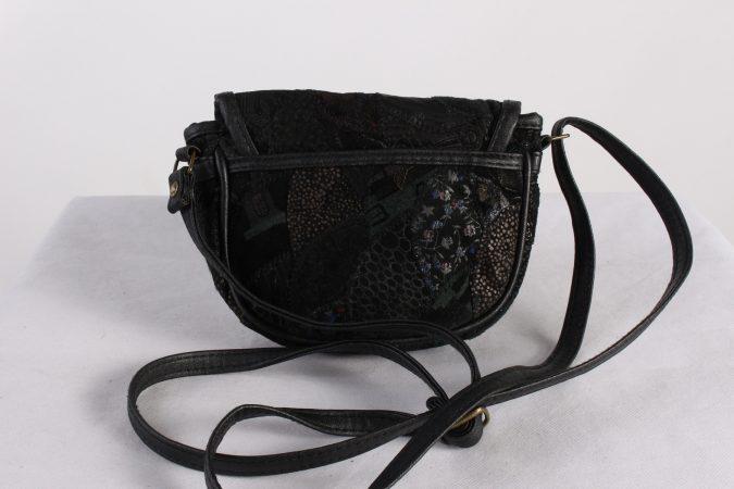 Vintage Womens Patchwork Printed Shoulder Messenger Mini Bag Black BG1035-116191
