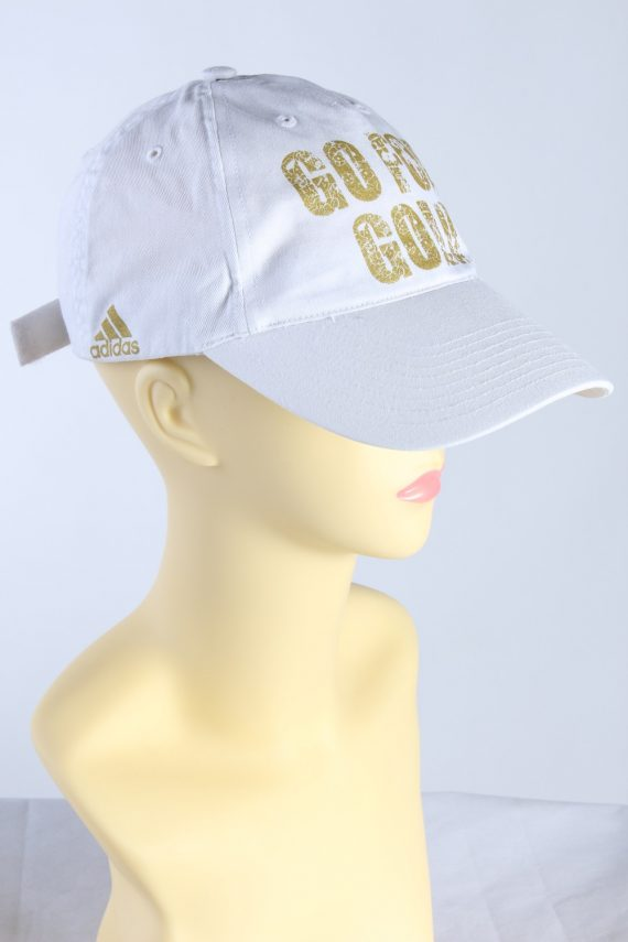 Vintage Adidas Go For Gold Hat 11/07 908446 One Size Fits White HAT434-115441