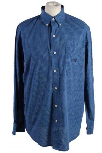Mens Chaps Checke Printed Long Sleeve Shirts Blue L