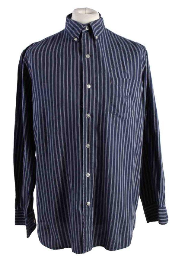 Vintage Mens Chaps Stripe Long Sleeve Shirts L Dark Blue SH3905-0