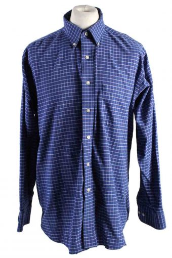 Mens Chaps Wrinkle Free Regular Fit Long Sleeve Shirts Blue XL