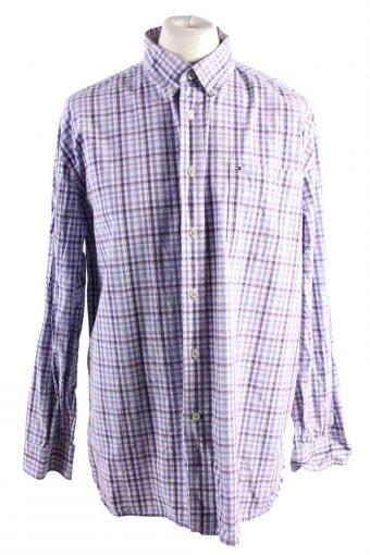 Mens Tommy Hilfiger Checke Printed Long Sleeve Shirts Lilac XL