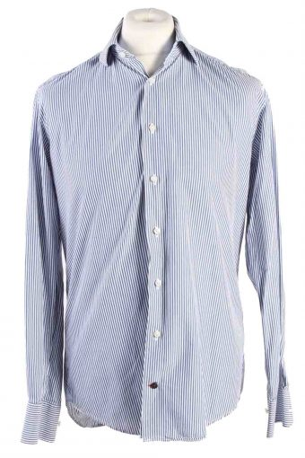 Mens Tommy Hilfiger Stripe Fitted Long Sleeve Shirts Blue M