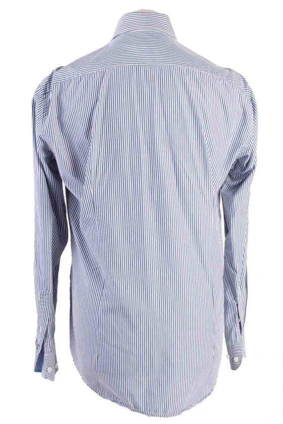 Vintage Mens Tommy Hilfiger Stripe Fitted Long Sleeve Shirts M Blue SH3912-115189