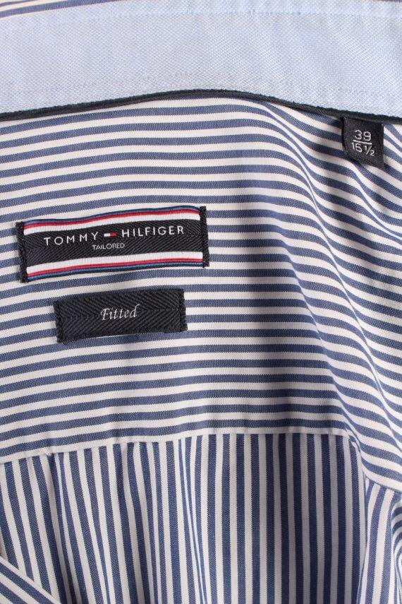 Vintage Mens Tommy Hilfiger Stripe Fitted Long Sleeve Shirts M Blue SH3912-115190