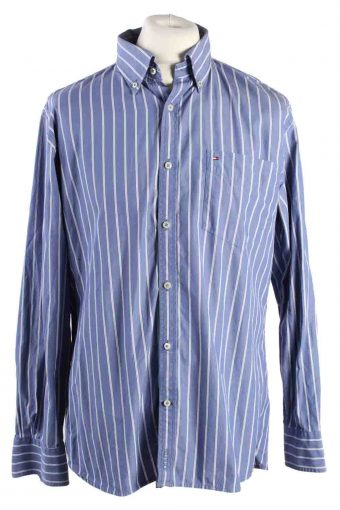 Mens Tommy Hilfiger Custom Fit Stripe Long Sleeve Shirts Blue L