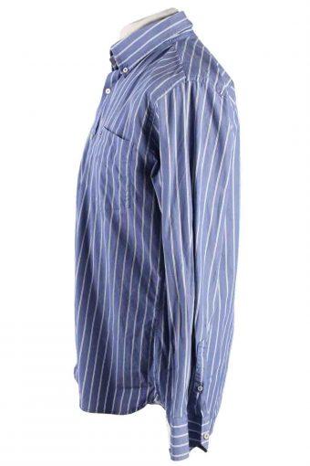 Vintage Mens Tommy Hilfiger Custom Fit Stripe Long Sleeve Shirts L Blue SH3913-115192