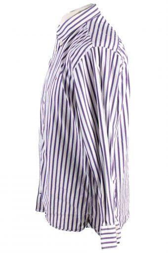 Vintage Mens Tommy Hilfiger Stripe Long Sleeve Shirts L Purple SH3917-115208