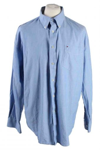 Mens Tommy Hilfiger Cotton Long Sleeve Shirt Blue XL