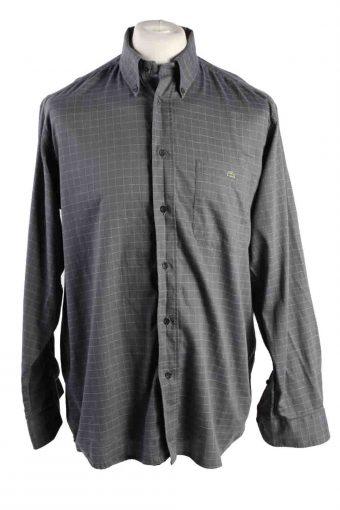 Mens Lacoste Checke Printed Long Sleeve Shirts Grey L