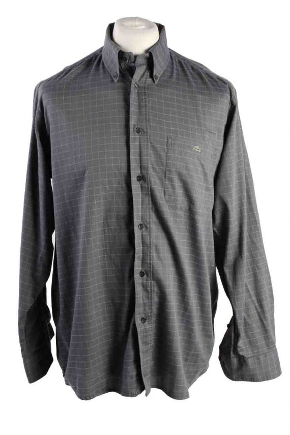 Vintage Mens Lacoste Checkered Printed Long Sleeve Shirts L Grey SH3928-0