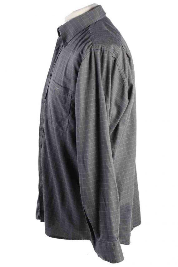 Vintage Mens Lacoste Checkered Printed Long Sleeve Shirts L Grey SH3928-115252