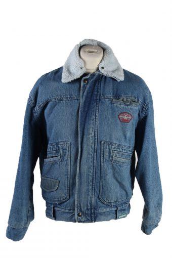 90s Retro Denim Jacket Sherpa Blue L