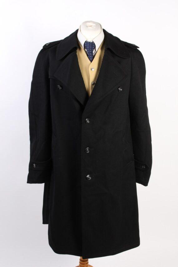 Vintage Classic Trench Coat Chest 46 Black -C1589-0
