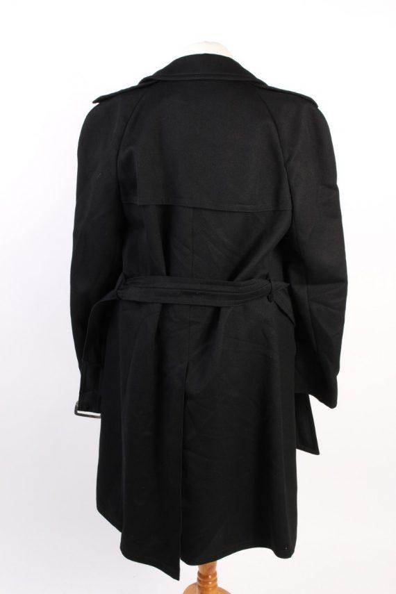 Vintage Classic Trench Coat Chest 46 Black -C1589-117198