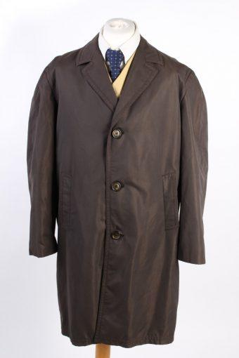 Vintage Akylon Comtal Paris Classic Trench Coat Bust 50 Dark Brown