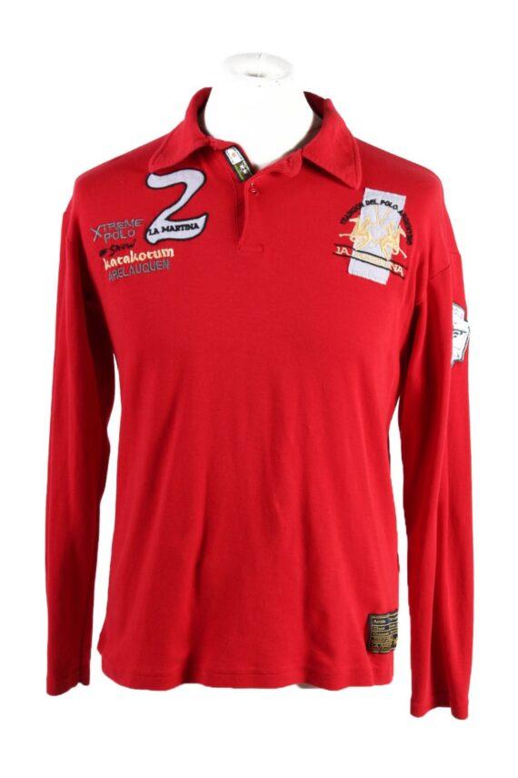 Vintage La Martina Polo Sweatshirt Boys Long Sleeve Tops XL Red -PT1200-0