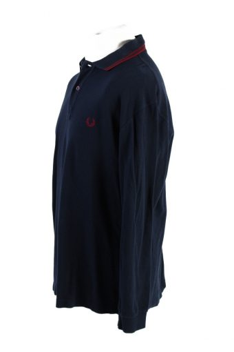 Vintage Fred Perry Polo Sweatshirt Long Sleeve Tops 46 Navy -PT1202-117901