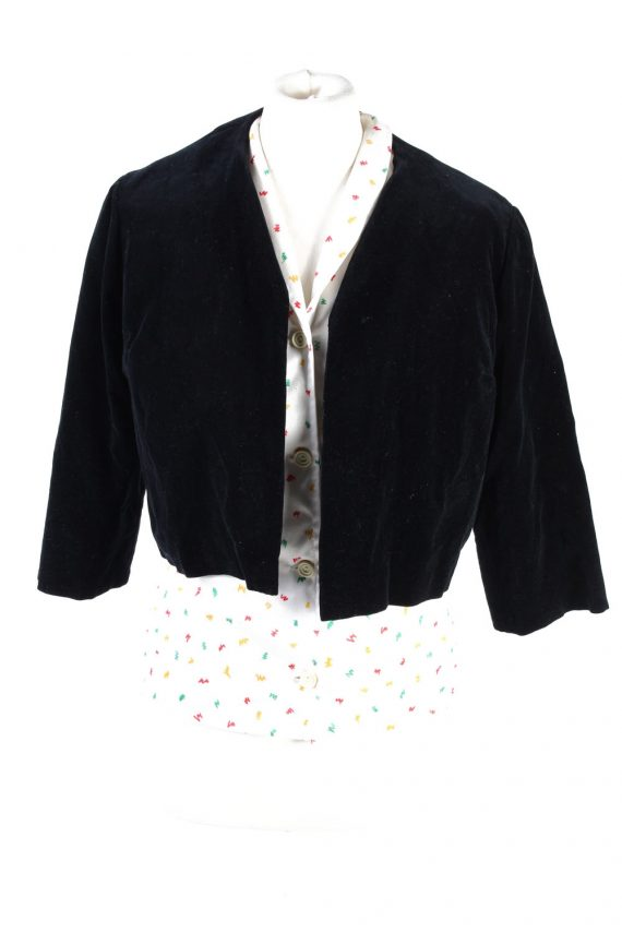 Vintage Cropped Soft Velvet Blazer Jacket Black BJ58-0