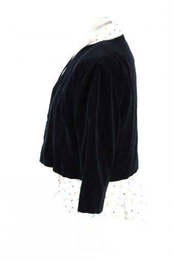 Vintage Cropped Soft Velvet Blazer Jacket Black BJ58-121770