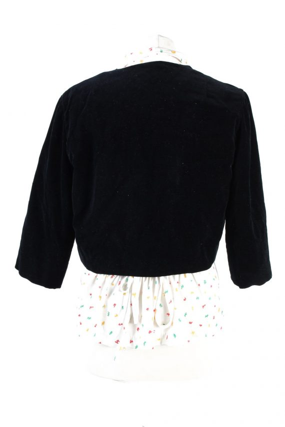 Vintage Cropped Soft Velvet Blazer Jacket Black BJ58-121771