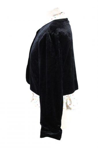 Vintage Cropped Soft Velvet Blazer Jacket Black BJ67-121737