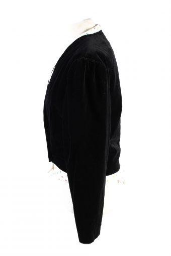 Vintage Sailer Trachten Cropped Soft Velvet Blazer Jacket 40 Black BJ73-121785