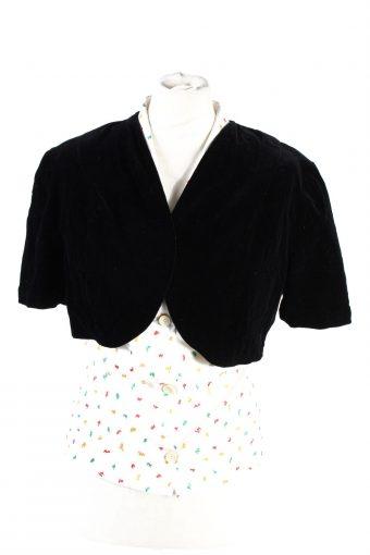 Velvet Blazer Jacket Sorf Cropped Black S