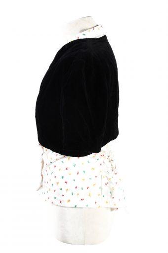 Vintage Cropped Soft Velvet Blazer Jacket Black BJ74-121782
