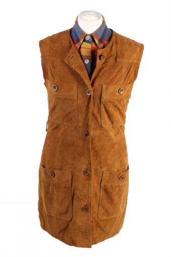 Vintage E. G. Collection Suede Leather Jacket Sleeveless Womens 34 Brown