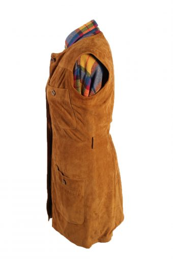 Vintage E. G. Collection Suede Leather Jacket Sleeveless Womens 34 Brown -C1658-119243