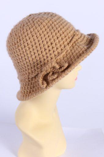 Vintage Knit Winter Hat With Small Brim 1990s Elegant Camel - HAT614-119314