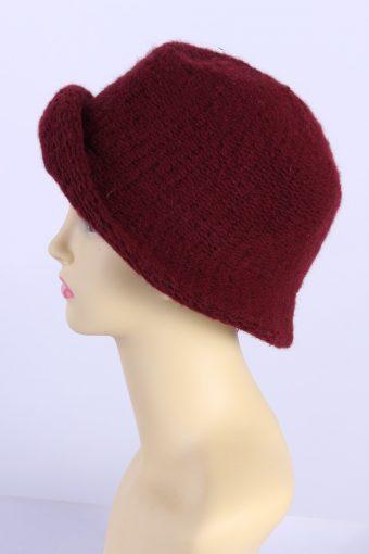 Vintage Knit Winter Hat With Small Brim 1990s Elegant Bordeaux - HAT618-119292