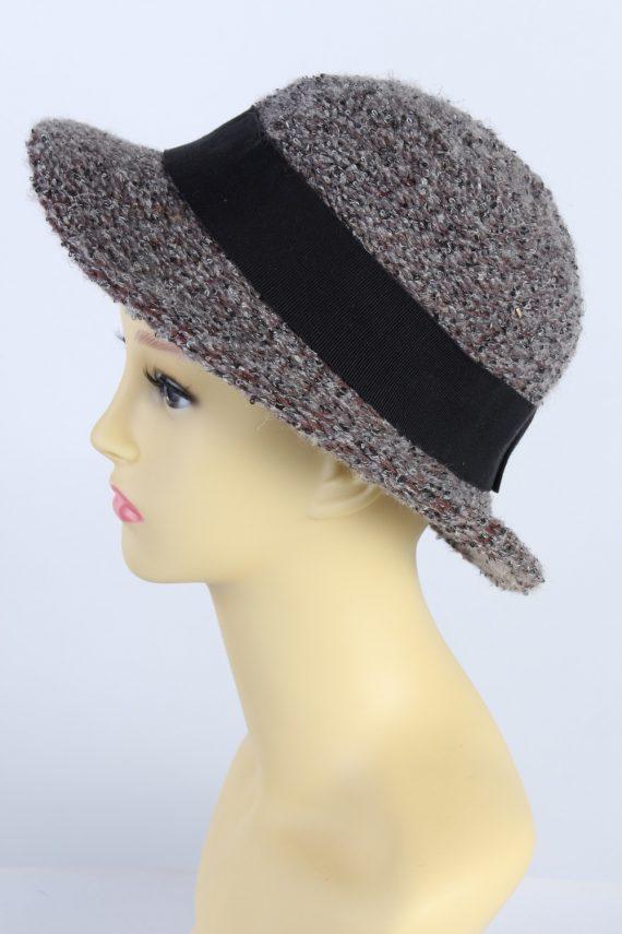 Vintage Knit Winter Hat Brimmed With Belt Warm 1990s Multi - HAT626-119272