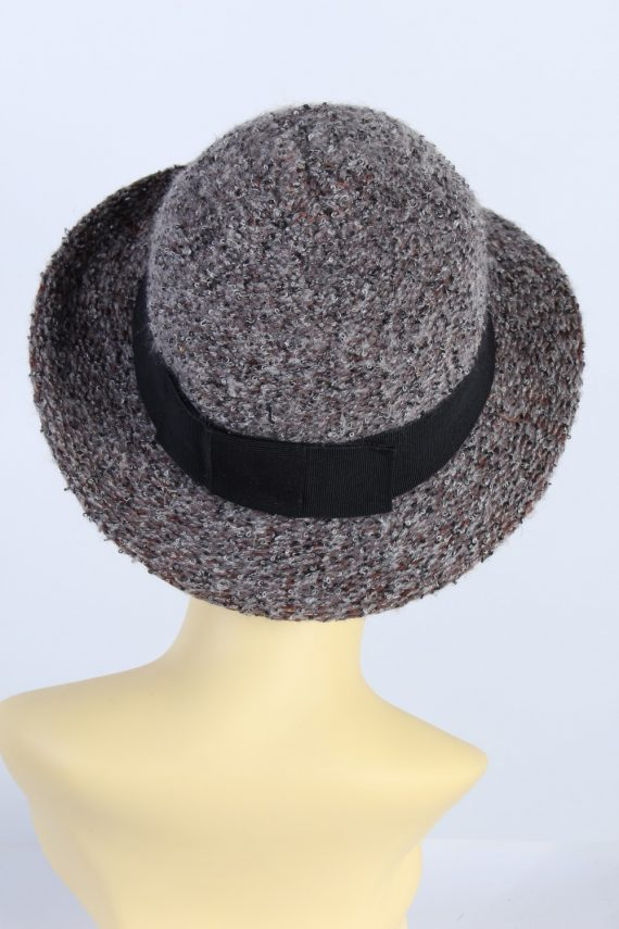 Vintage Knit Winter Hat Brimmed With Belt Warm 1990s Multi - HAT626-119273