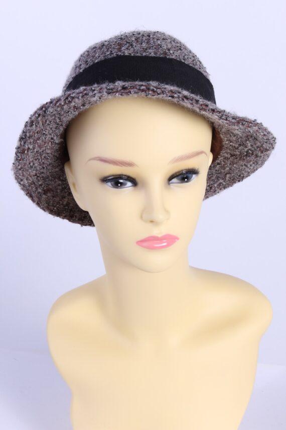 Vintage Knit Winter Hat Brimmed With Belt Warm 1990s Multi - HAT626-0